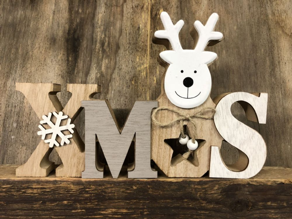 XMAS Grey & White Wooden Reindeer Christmas Plaque